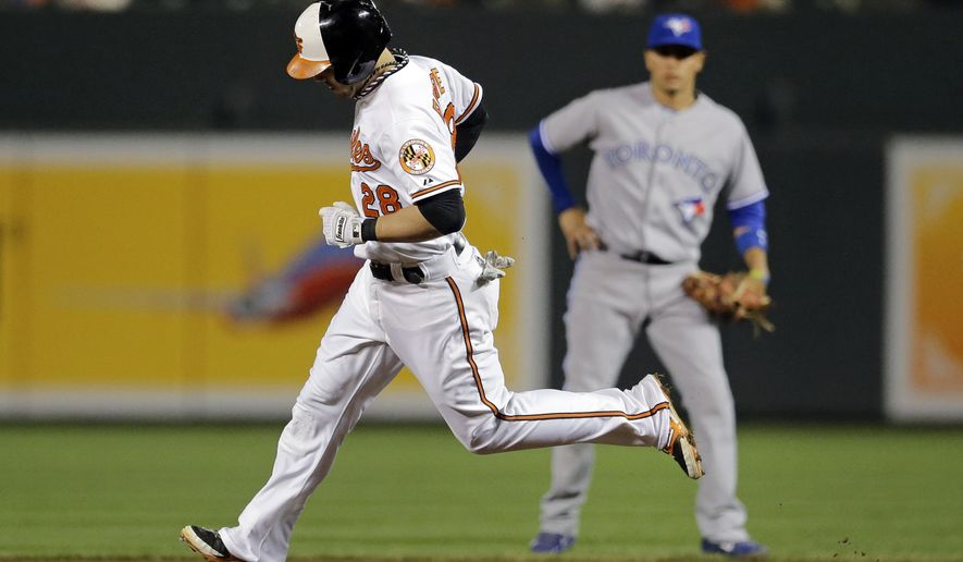Baltimore Orioles' Steve Pearce rounds second base past Toronto Blue Jays second baseman Ryan Goins after hitting a solo home run in the third inning of a baseball game, Wednesday, Sept. 17, 2014, in Baltimore. (AP Photo/Patrick Semansky)