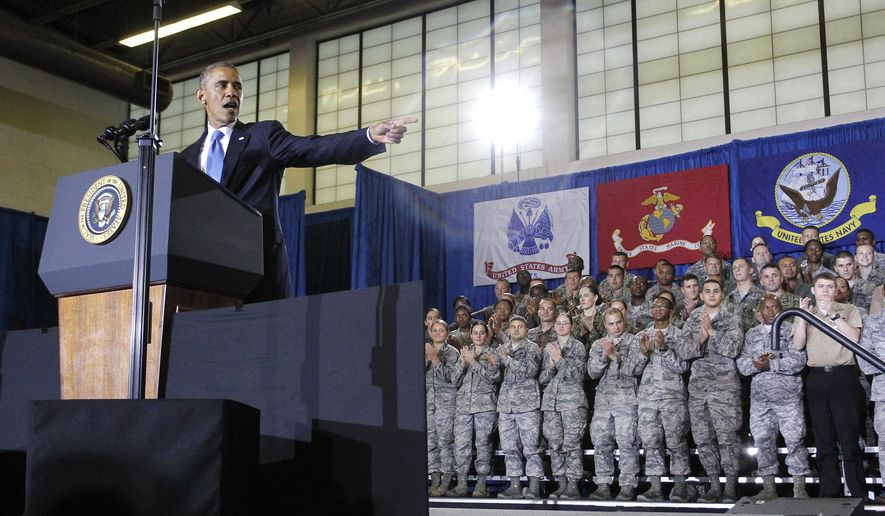 President Barack Obama speaks at U.S. Central Command (CentCom) at MacDill Air Force Base in Tampa, Fla. on Wednesday, Sept. 17, 2014. Obama consulted with military officials about the U.S. counterterrorism campaign against Islamic State militants during his visit. (AP Photo/The Tampa Bay Times, James Borchuck , Pool)