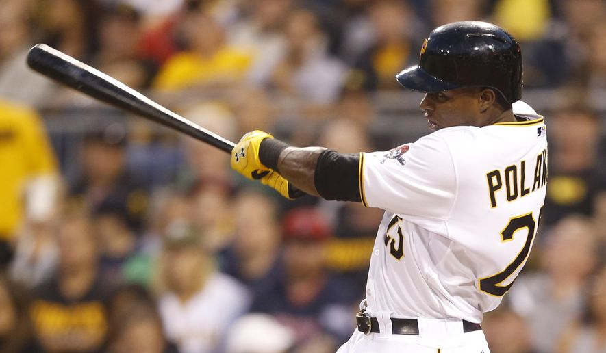 Pittsburgh Pirates' Gregory Polanco hits a solo home run in the first inning of a baseball game against the Boston Red Sox, Wednesday, Sept. 17, 2014, in Pittsburgh. (AP Photo/Keith Srakocic)