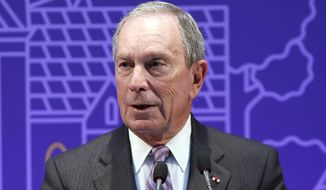 Former New York Mayor Michael Bloomberg delivers a speech during the Mayors Challenge award ceremony, in Paris, Wednesday, Sept. 17, 2014. (Associated Press) ** FILE **
