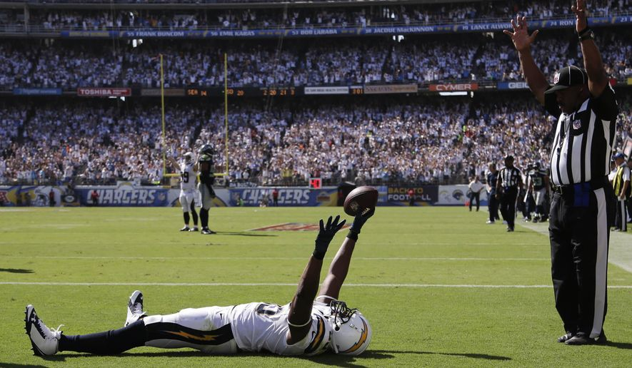 10ThingstoSeeSports - San Diego Chargers tight end Antonio Gates celebrates his touchdown against the Seattle Seahawks during the second half of an NFL football game on Sunday, Sept. 14, 2014, in San Diego. (AP Photo/Gregory Bull, File)