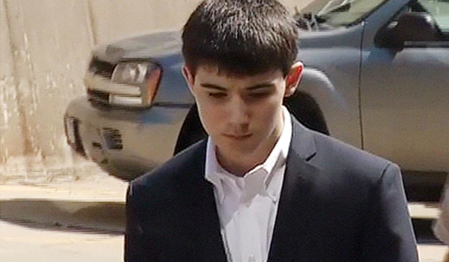 FILE - This Jan. 4, 2013 file photo from video provided by KDLT-TV in Sioux Falls, S.D., shows Braiden McCahren outside court in Pierre, S.D. Attorneys' opening statements began Wednesday, Sept. 17, 2014, in Winner, S.D., in the trial for McCahren, a Pierre teenager accused of killing a classmate. Eighteen-year-old Braiden McCahren has pleaded not guilty to first-degree murder in the December 2012 shooting death of 16-year-old Dalton Williams. McCahren was 16 at the time of the shooting at his home but he's being tried as an adult. (AP Photo/Courtesy of KDLT-TV in Sioux Falls, File)