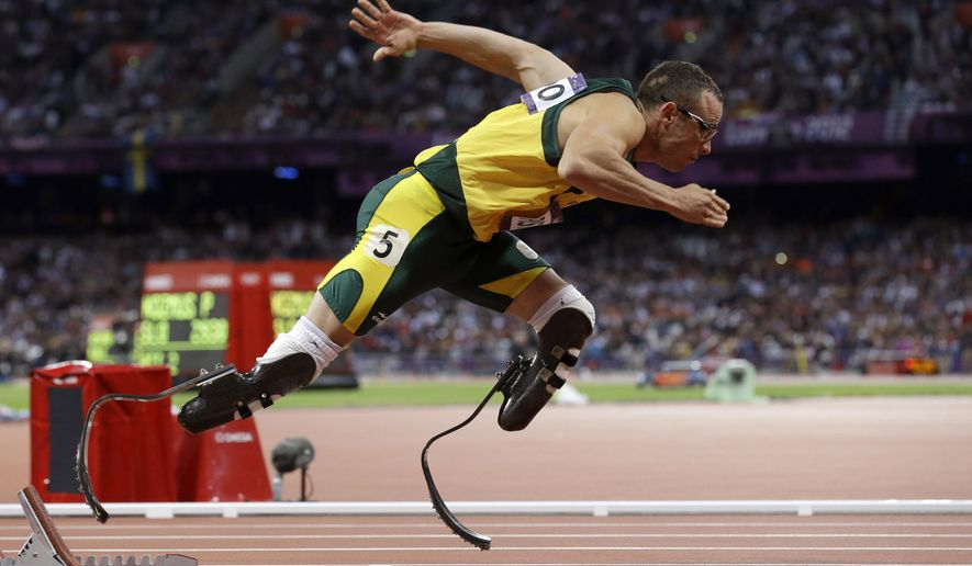 FILE -  In this Sunday, Aug. 5, 2014 file photo South Africa's Oscar Pistorius starts in the men's 400-meter semifinal during the athletics in the Olympic Stadium at the 2012 Summer Olympics, London.  Pistorius is free to compete for South Africa again, as long as his running doesn't go against the ruling of the judge. Pistorius, who is to be sentenced next month after being found guilty in the negligent killing of his girlfriend, could compete at any time because the South African Olympic committee has no regulations preventing someone with a criminal record from representing the country. (AP Photo/Anja Niedringhaus, File)