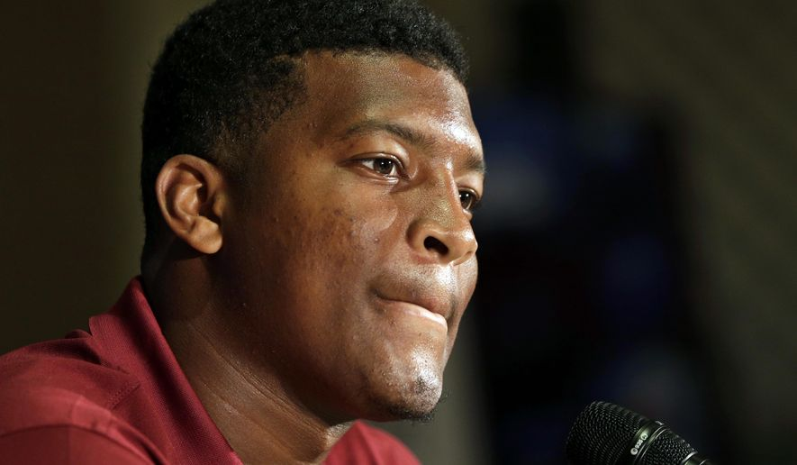 "FILE - In this July 20, 2014, file photo, Florida State's Jameis Winston answers a question during a news conference at the Atlantic Coast Conference Football kickoff in Greensboro, N.C.  Winston has made lewd comments about women and Florida State coach Jimbo Fisher says he is deciding whether to bench the Seminoles' quarterback for his ""derogatory"" remarks. Several students tweeted Winston stood on campus Tuesday and shouted a lascivious comment that may have derived from an internet meme. (AP Photo/Chuck Burton, File)"