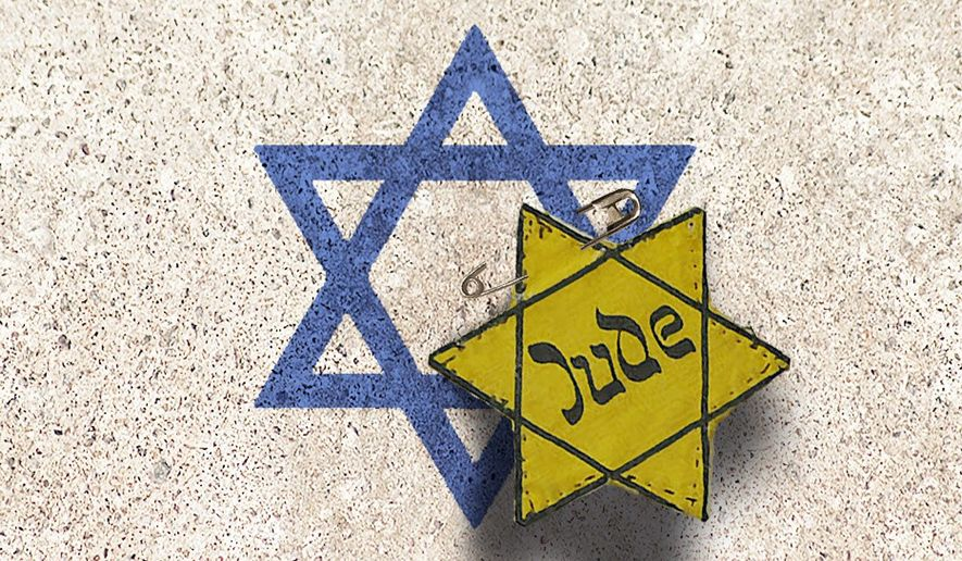 Illustration on anti-Semitism masquerading as criticism of Israel by Alexander Hunter/The Washington Times