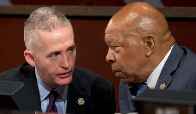 House Select Committee on Benghazi chairman Rep. Trey Gowdy, South Carolina Republican (left) and ranking member Elijah E. Cummings, Maryland Democrat, commenced hearings Wednesday on the implementation of the Accountability Review Board recommendations following the deadly 2012 attack on the U.S. embassy in Libya that resulted in several American deaths. (Associated Press)