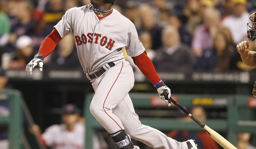 Boston Red Sox's Rusney Castillo watches as he grounds out in his first major league at bat in the first inning of the baseball game against the Pittsburgh Pirates on Wednesday, Sept. 17, 2014, in Pittsburgh.  (AP Photo/Keith Srakocic)