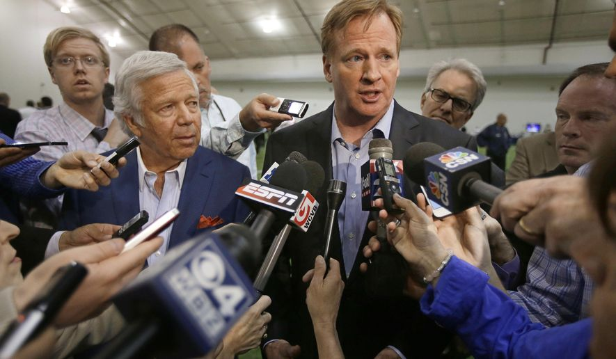 FILE - In this Thursday, May 29, 2014, file photo, NFL Commissioner Roger Goodell, right, addresses members of the media in Foxborough, Mass. The NFL is under pressure from sponsors, fans and lawmakers for its handling of domestic violence allegations against several players. At issue is whether the league is acting swiftly enough to investigate or discipline players. (AP Photo/Stephan Savoia, File)