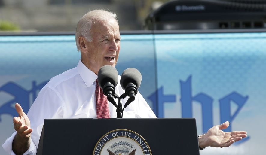 Vice President Joe Biden speaks during the kickoff of the Nuns on the Bus tour, Wednesday, Sept. 17, 2014, at the Statehouse in Des Moines, Iowa. (AP Photo/Charlie Neibergall)