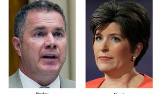 This combo of 2014 file photos shows Iowa Democratic senatorial candidate, Rep. Bruce Braley, left, and Republican senatorial candidate State Sen. Joni Ernst. Iowa is a state with a relatively small number of veterans and no military bases, yet the hotly contested Senate race here is heavily focused on the military. (AP Photo)
