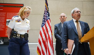 Left to right: Washington, D.C. Metropolitan Police Chief Cathy Lanier, Council Chairman Phil Mendelson, and Washington, D.C. Attourney General Irv Nathan, address the the media about emergency legislation to amend District laws to conform to the court's recent Palmer v. District of Columbia ruling on the DistrictÕs gun laws during a press conference at the Wilson Building, Washington, D.C., Wednesday, September 17, 2014. (Andrew Harnik/The Washington Times)