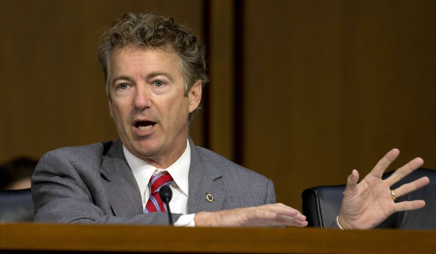 Sen. Rand Paul, R-Ky., speaks on Capitol Hill in Washington, Wednesday, Sept. 17, 2014, during a Senate Foreign Relations Committee hearing on the U.S. strategy to defeat the Islamic State group. (AP Photo/Carolyn Kaster)