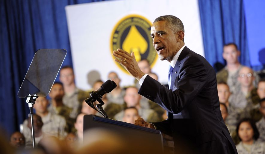 President Barack Obama speaks to service men and women at MacDill Air Force Base Wednesday, Sept. 17, 2014, in Tampa, Fla. The President arrived in Tampa on Tuesday evening and met with Centcom commander Gen. Lloyd Austin III and other leaders at MacDill, including members of the Centcom international coalition. (AP Photo/The Tampa Tribune, Chris Urso, Pool) ** FILE **