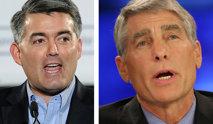 This combo of file photos shows Rep. Cory Gardner, R-Colo., speaks during an event in Denver in a March 1, 2014, file photo, left, and then Colorado Democratic senatorial candidate Mark Udall in a Oct. 16, 2008, file photo. (AP Photo/Files)