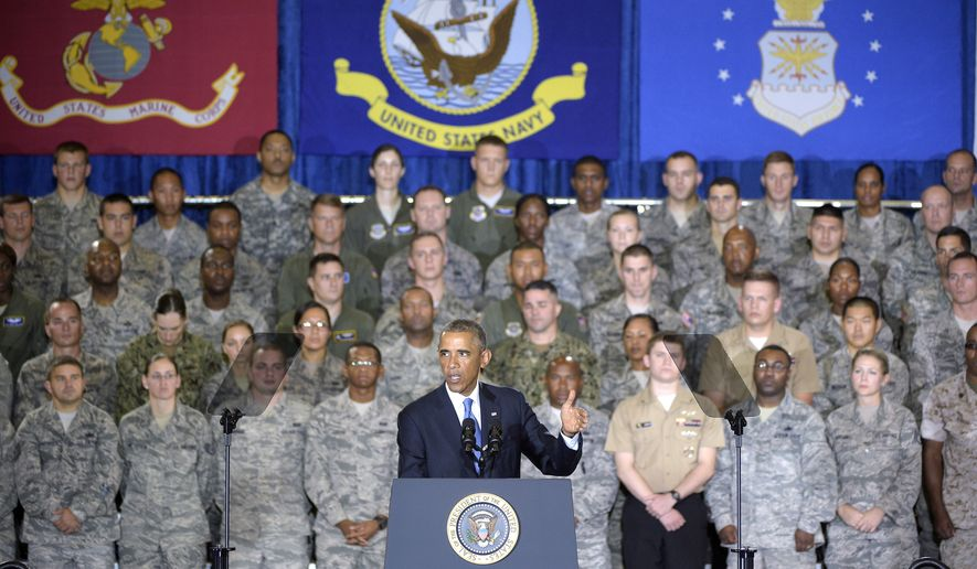 President Barack Obama speaks to a crowd of military personnel at U.S. Central Command at MacDill Air Force Base in Tampa, Fla., Wednesday, Sept. 17, 2014. (Associated Press) ** FILE **
