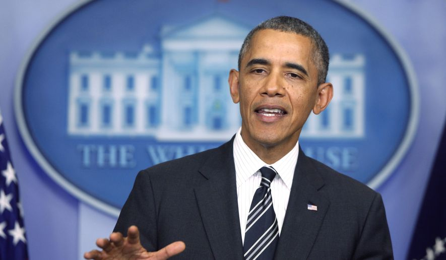 President Barack Obama speaks in the James Brady Press Briefing Room at the White House in Washington in this Sept. 27, 2013, file photo. (AP Photo/Charles Dharapak, File)