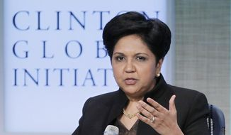 In this Sept. 21, 2011, file photo, Indra Nooyi, Chairman and CEO of PepsiCo, participates in a panel discussion at the Clinton Global Initiative in New York. (AP Photo/Mark Lennihan, File)