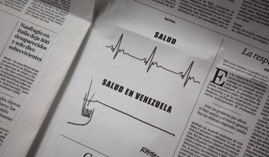 """A political cartoon by Rayma Suprani using the signature of Venezuela's late President Hugo Chavez, bottom, reads in Spanish """"Health,"""" top, and """"Health in Venezuela,"""" bottom, appears on the Sept. 17 opinion page of El Universal newspaper in Caracas, Venezuela, Thursday, Sept. 18, 2014. The award-winning 19-year veteran of El Universal says she lost her job over her representation of the late Hugo Chavez's iconic signature as a flat-lined heartbeat to dramatize Venezuela's health care crisis. Her ouster has alarmed press freedom advocates who say once-independent media are seeing criticism of the socialist government snuffed out. (AP Photo/Fernando Llano)"""