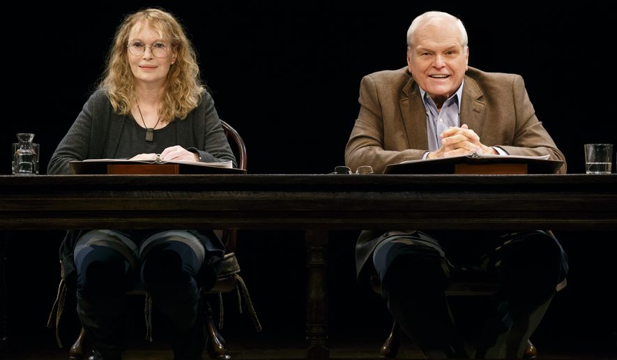 "In this image released by Polk and Company, Mia Farrow, left, and Brian Dennehy perform in ""Love Letters,"" in New York. The play is made up of letters, Christmas cards, birth announcements and notes between a woman and a man over decades starting in 1937. (AP Photo/Polk and Company, Carol Rosegg)"