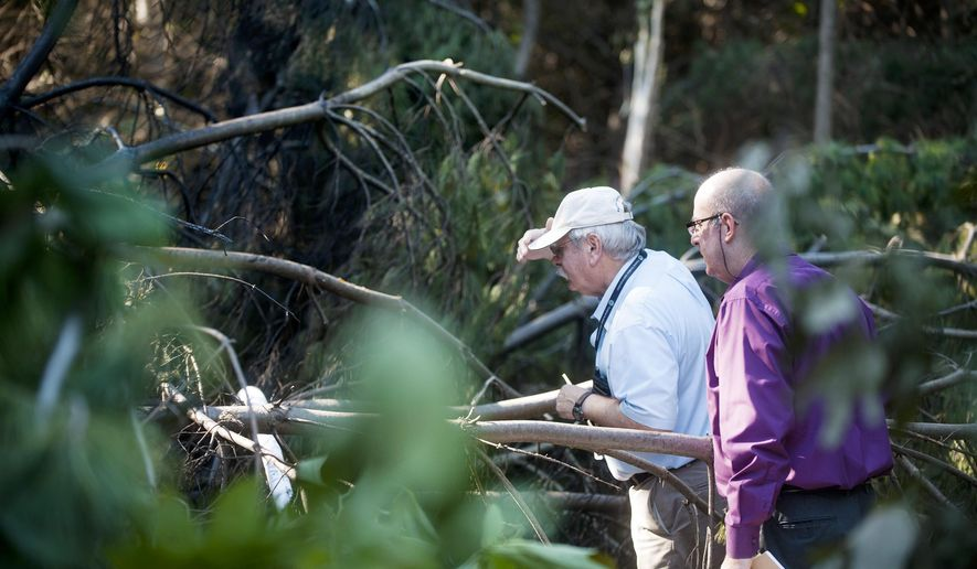 FAA Investigators inspect the remains of a fatal airplane crash in the woods off of Oard Road in Bloomington, Ind., on Thursday, Sept. 18, 2014. (AP Photo/The Herald-Times, Matthew Hatcher)