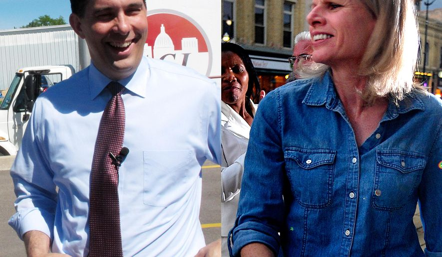 FILE - In this combination of 2014 file photos are Wisconsin Republican Gov. Scott Walker, left, and his Democratic challenger, Mary Burke, at campaign events in Wisconsin. (AP Photo/AP, Scott Bauer and The Journal Times, Scott Anderson)