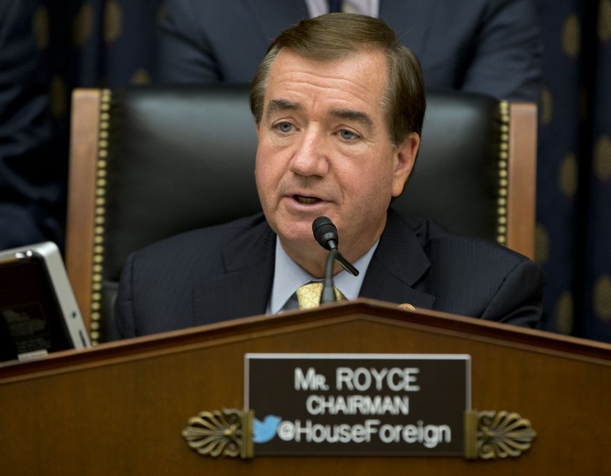 House Foreign Affairs Committee Chairman Ed Royce, R-Calif., speaks on Capitol Hill in Washington, Thursday, Sept. 18, 2014, during a House Foreign Affairs committee hearing. (AP Photo/Carolyn Kaster) ** FILE **