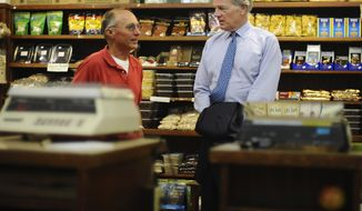 Republican candidate for Connecticut governor Tom Foley, right, speaks with Ted Xenelis, owner of Middlesex Fruitery, during a campaign stop, Thursday, Sept. 18, 2014, in Middletown, Conn. (AP Photo/Jessica Hill)