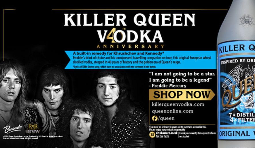 """British rock band Queen has unveiled its very own """"Killer Queen"""" vodka to celebrate late frontman's Freddie Mercury favorite drink of choice. (QueenOnline.com)"""