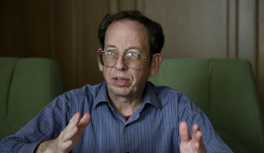 In this Sept. 1, 2014, file photo, Jeffrey Fowle, an American detained in North Korea, speaks to The Associated Press, in Pyongyang, North Korea. (AP Photo/Wong Maye-E, File)