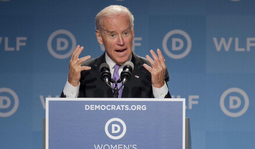 Vice President Joe Biden, speaks at the DNC Women's Leadership Forum in Washington, Friday, Sept. 19, 2014. (AP Photo/Manuel Balce Ceneta)