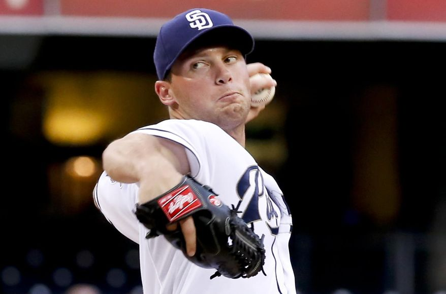 San Diego Padres starting pitcher Robbie Erlin throws against the Philadelphia Phillies during the first inning of a baseball game Thursday, Sept. 18, 2014, in San Diego. (AP Photo/Don Boomer)