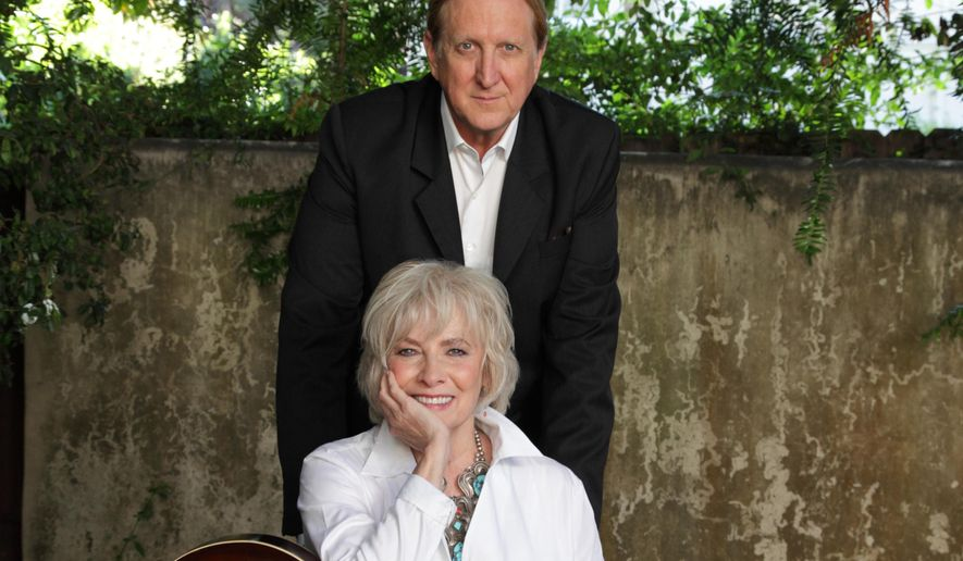 "This undated photo provided by courtesy of Rogers & Cowan shows the Tony-winning stage-musical veteran Betty Buckley, left, and producer T-Bone Burnett. Buckley teamed-up with Burnett for the album ""Ghostlight."" The Broadway baby and Grammy- and Oscar-winning champion of Americana music may seem an unlikely duo, but they're actually kindred spirits. (AP Photo/Courtesy Rogers & Cowan, Myriam Santos)"