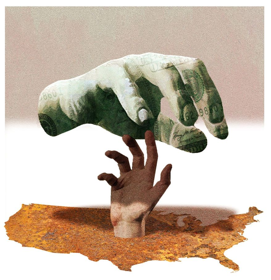 Illustration on the failures of tne war on poverty by Alexander hunter/The Washington Times