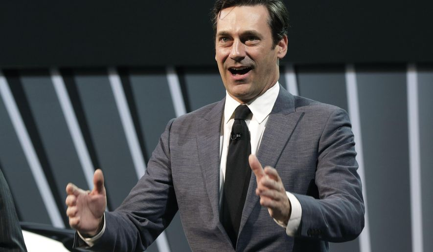 """FILE - In this April 2014 file photo, Actor Jon Hamm, of television's """"Mad Men,"""" is shown at the 2014 New York International Auto Show, at the Javits Convention Center in New York.   President Barack Obama and Vice President Joe Biden are unveiling the """"It's On Us"""" campaign Friday at a White House event. The White House has enlisted Hollywood stars including Jon Hamm of """"Mad Men"""" to help fight campus sexual assault. (AP Photo/Richard Drew)"""