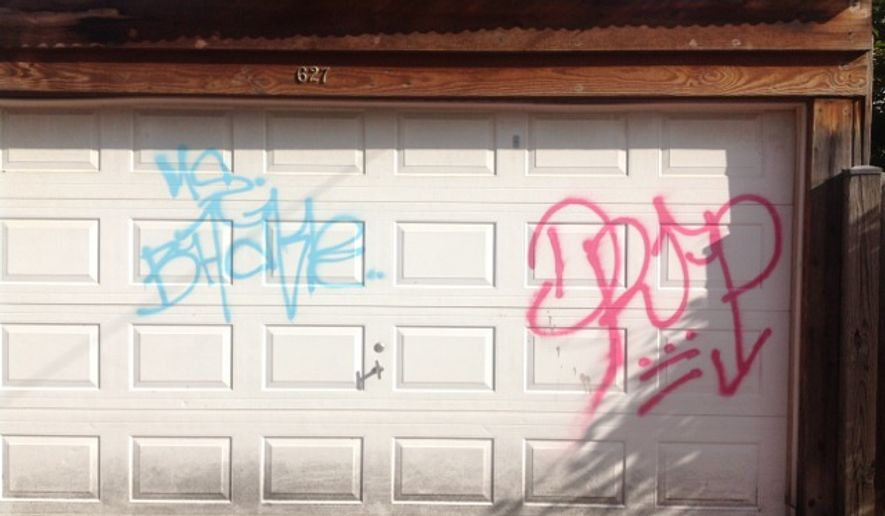 D.C. police are looking for vandals who tagged Northeast homes with graffiti over three blocks (Photo courtesy Metropolitan Police Department)