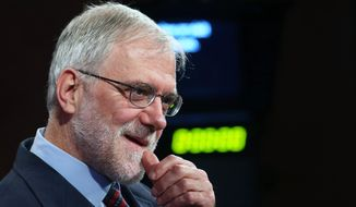 Howie Hawkins, the Green Party candidate for New York governor, waits for a television interview to begin at WMHT on Wednesday, Sept. 17, 2014, in Troy, N.Y. (AP Photo/Mike Groll)