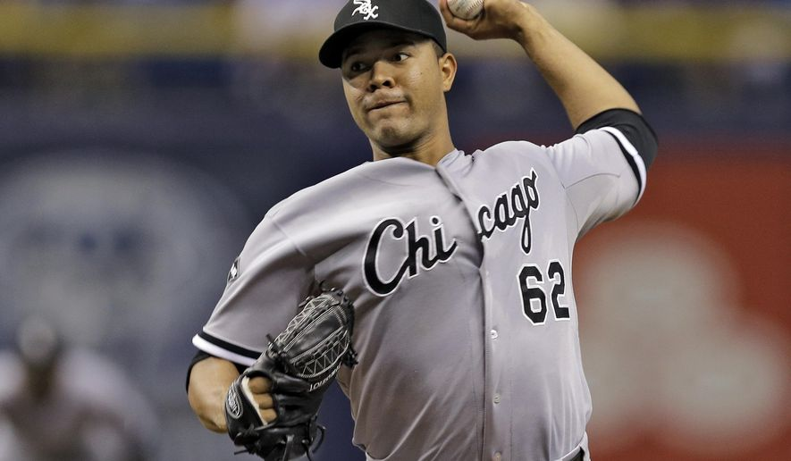 Chicago White Sox starting pitcher Jose Quintana delivers to the Tampa Bay Rays during the first inning of a baseball game Friday, Sept. 19, 2014, in St. Petersburg, Fla. (AP Photo/Chris O'Meara)