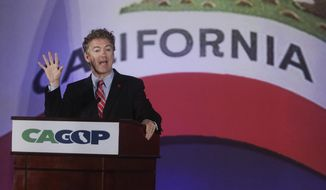 Sen. Rand Paul (R-Ky.) speaks at the California GOP convention on Saturday, Sept. 20, 2014, in Los Angeles. Paul has sought a broader audience this year as he has aggressively traveled the country ahead of a potential presidential bid in 2016. (AP Photo/Chris Carlson)