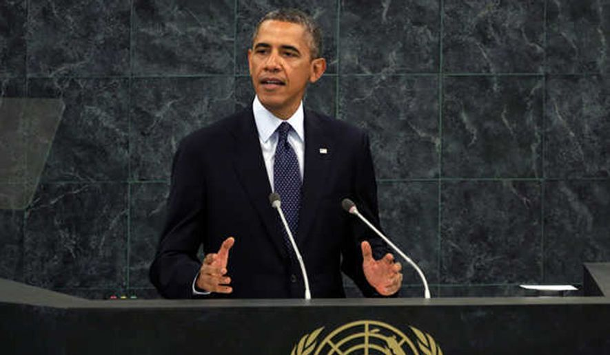 President Obama speaks before the United Nations. (Associated Press) ** FILE **