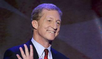 In this Sept. 5, 2012, file photo, Tom Steyer waves as he walks to the podium to address the Democratic National Convention in Charlotte, N.C. (AP Photo/J. Scott Applewhite, File)