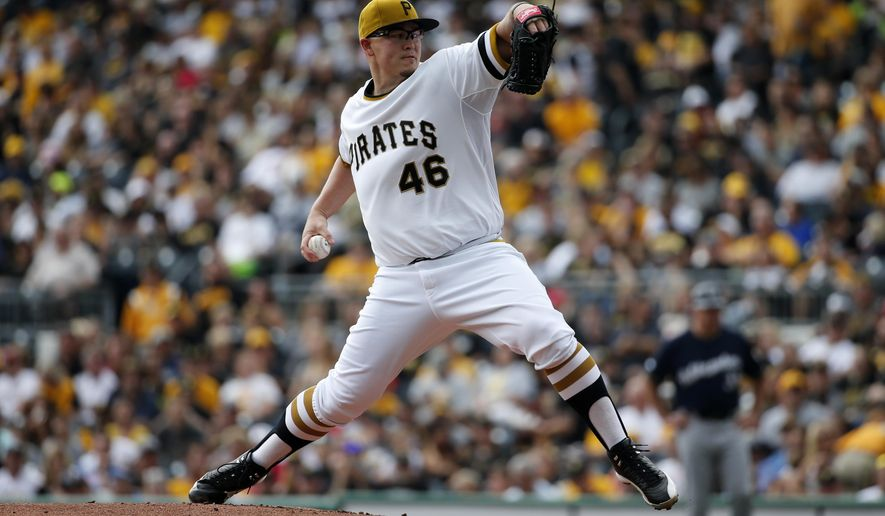 Pittsburgh Pirates starting pitcher Vance Worley (46) delivers during the first inning of a baseball game against the Milwaukee Brewers in Pittsburgh, Sunday, Sept. 21, 2014. (AP Photo/Gene J. Puskar)
