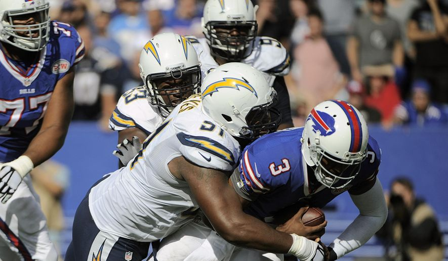 San Diego Chargers defensive end Kendall Reyes (91) sacks Buffalo Bills' EJ Manuel (3) during the second half of an NFL football game Sunday, Sept. 21, 2014, in Orchard Park, N.Y. The Chargers won the game 22-10. (AP Photo/Gary Wiepert)
