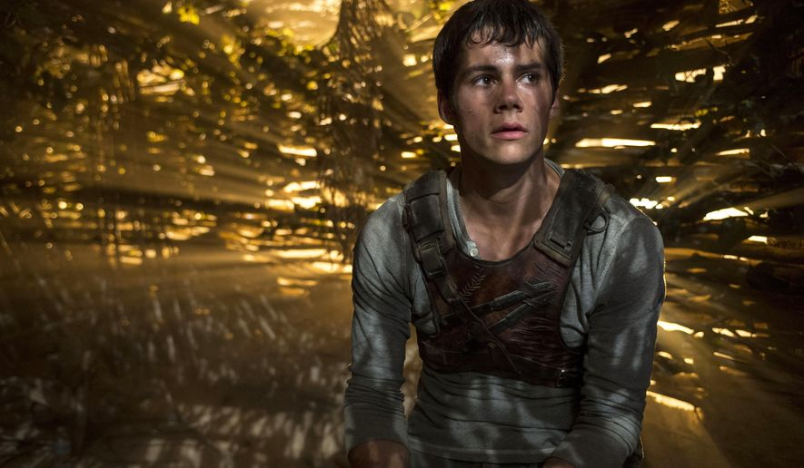"In this image released by 20th Century Fox, Dylan O'Brien appears in a scene from the film, ""The Maze Runner."" (AP Photo/20th Century Fox, Ben Rothstein)"
