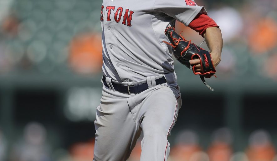 Boston Red Sox starting pitcher Joe Kelly throws to the Baltimore Orioles in the seventh inning of a baseball game, Sunday, Sept. 21, 2014, in Baltimore. Boston won 3-2. (AP Photo/Patrick Semansky)