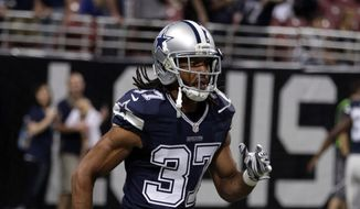 Dallas Cowboys defensive back C.J. Spillman warms up before the start of an NFL football game between the St. Louis Rams and the Dallas Cowboys Sunday, Sept. 21, 2014, in St. Louis. (AP Photo/Tom Gannam)