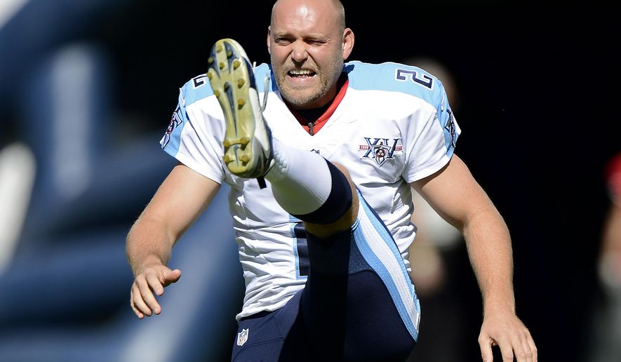 FILE - In this Sept. 22, 2013 file photo, then Tennessee Titans kicker Rob Bironas warms up before an NFL football game between the Titans and the San Diego Chargers in Nashville, Tenn. Bironas died Saturday night, Sept. 20, 2014 after a car accident near his Nashville home, according to police.  (AP Photo/Mark Zaleski, File)