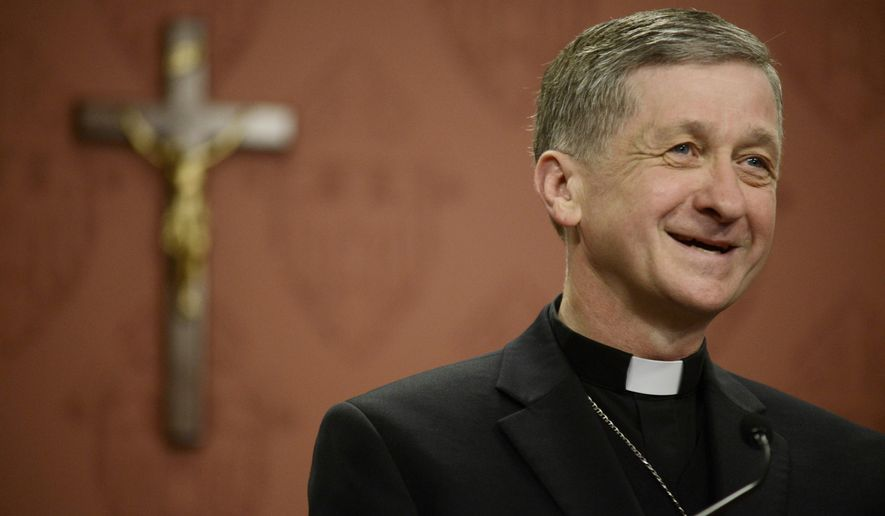 Newly appointed Archbishop of Chicago, Archbishop Blase Cupich speaks to the media after it was announced that he would replace Cardinal Francis George, retiring leader of the Chicago Catholic Archdiocese during a news conference in Chicago, Saturday, Sept. 20, 2014. (AP Photo/Paul Beaty)