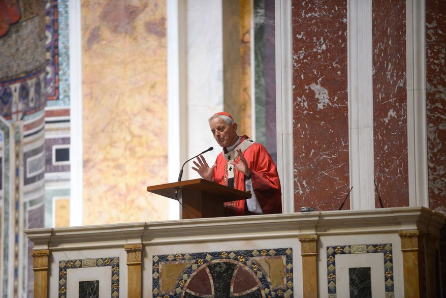 Donald Cardinal Wuerl, Archbishop of Washington, gives the homily during Mass of Thanksgiving in Celebration of the 75th Anniversary of the Archdiocese of Washington at the Cathedral of Saint Matthew The Apostle in Northwest on Sunday, September 21, 2014. Khalid Naji-Allah/ Special to The Washington Times.