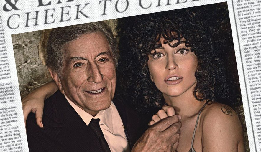"This CD cover image released by Interscope shows ""Cheek to Cheek,"" by Tony Bennett and Lady Gaga. (AP Photo/Interscope)"