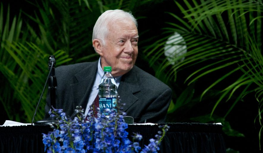 Former President Jimmy Carter speaks at Grand Rapids Community College's Ford Fieldhouse as part of the Diversity Lecture Series, Monday, Sept. 22, 2014. GRCC is celebrating its 100th anniversary. (AP Photo/The Grand Rapids Press, Cory Morse)